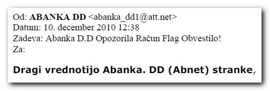 Primer sporočila napisanega v polomljeni slovenščini
