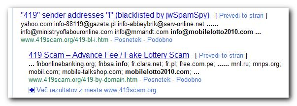Primer iskalnega zadetka na Googlu, če preverimo telefonsko številko ali vsebino sporočila.