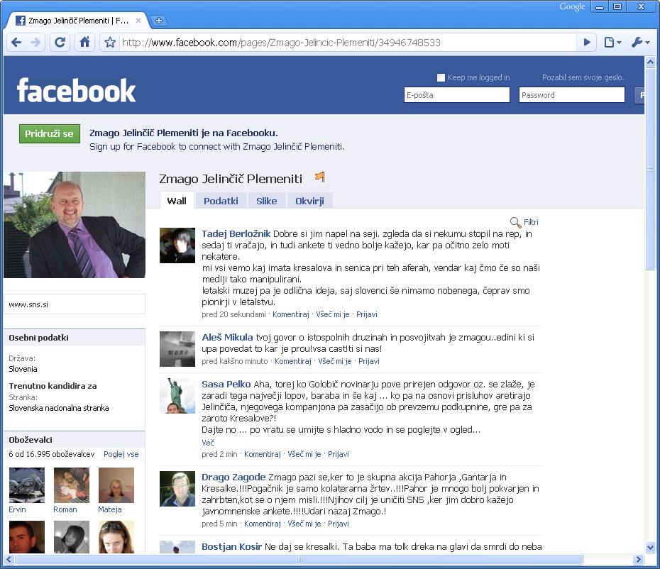 Facebook profil Zmaga Jelinčiča
