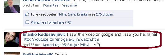 Sumljiv komentar na Facebooku