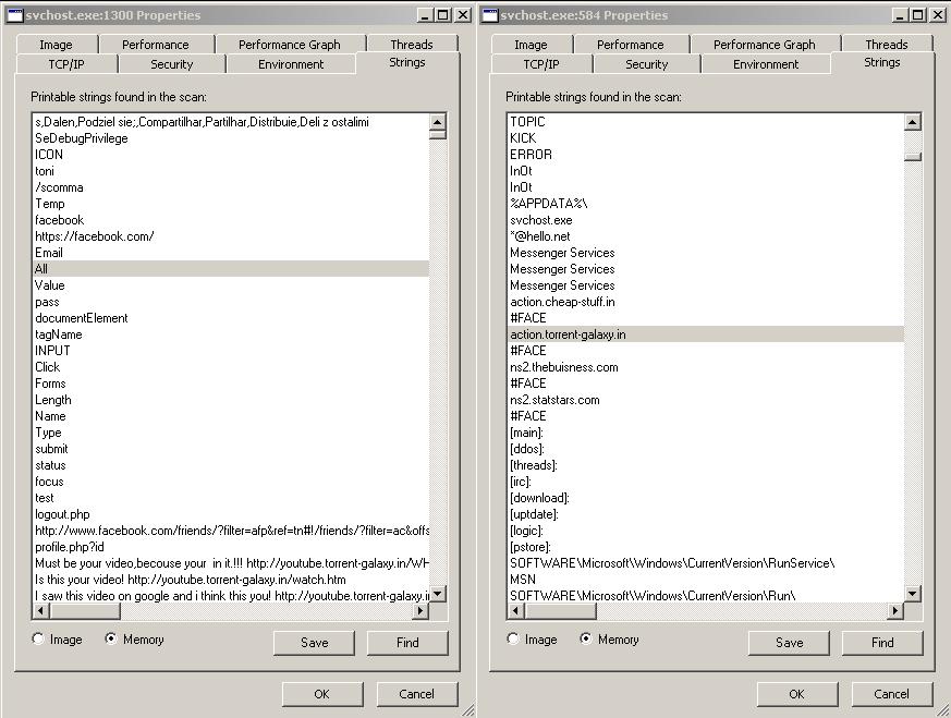 Posnetek zaslona, ki prikazuje, da po okužbi na sistemu tečeta 2 zlonamerna programa