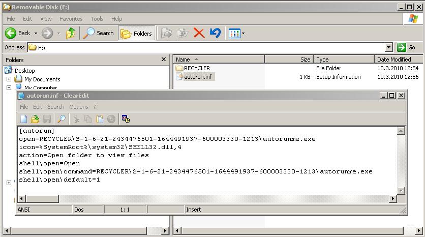 Posnetek zaslona, ki prikazuje, da se zlonamerni program samodejno kopira na zunanje pomnilnike