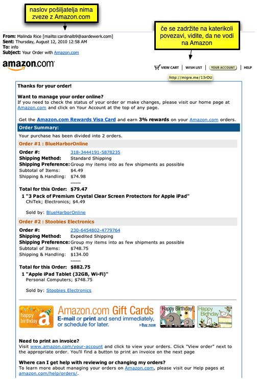 Lažno elektronsko sporočilo z Amazona