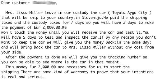 Sporočilo, ko vas želi prepričati v plačilo avtomobila