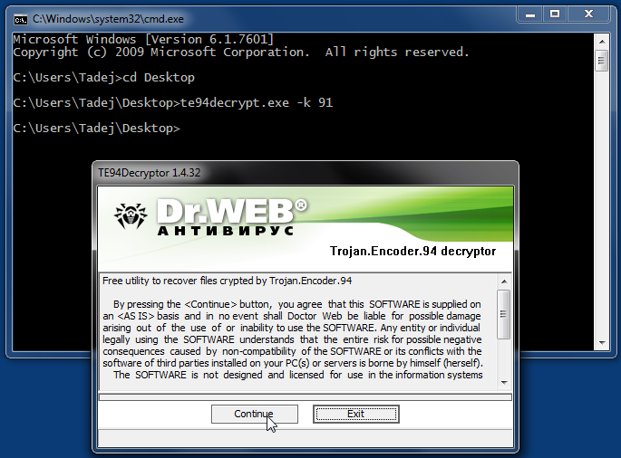 Posnetek zaslona, ki prikazuje pojavno okno in restavriranje datotek s programom