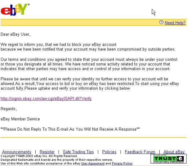 Lažno sporočilo ebaya