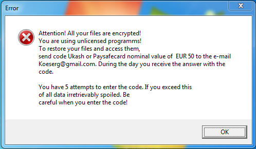 Opozorilo Ransomcrypt virusa