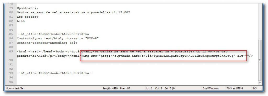 Sporočilo skriva HTML <img loading=