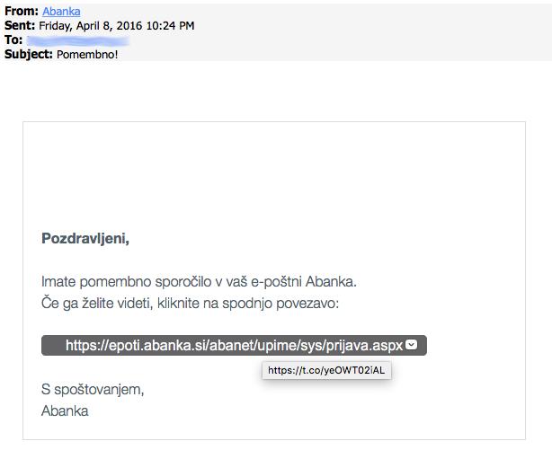 Phishing sporočilo, namenjeno komitentom Abanke