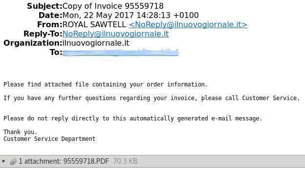 Primer elektronske pošte z zlonamerno priponko