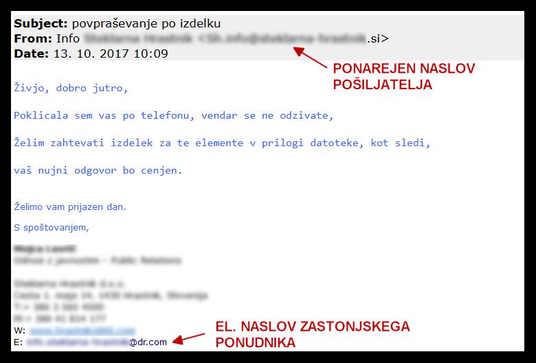 Primeri lažnih sporočil