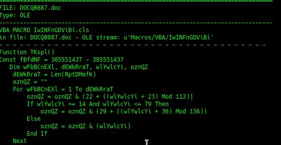 Izsek kode, ki prikazuje, da priponka vsebuje makro