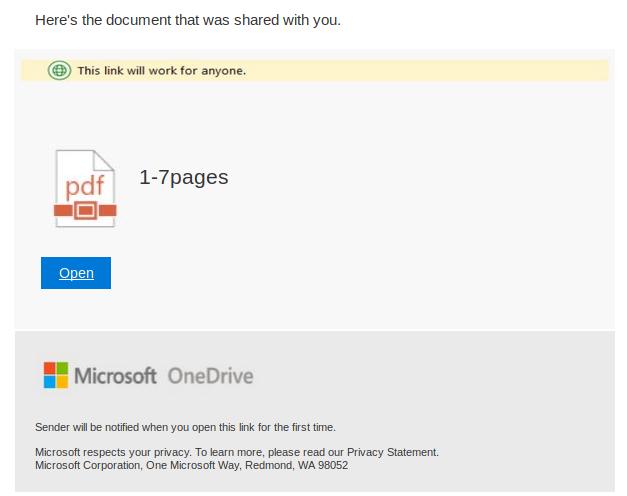 Primer phishing sporočila
