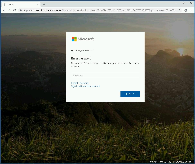 Lažni obrazec na Microsoft Azure Blob Storage