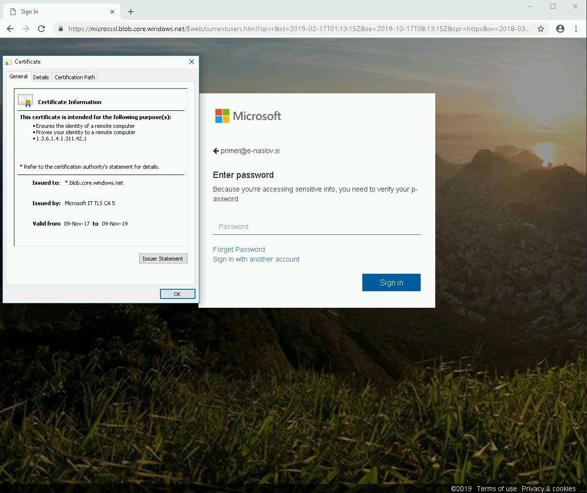 Lažna stran se nahaja na legitimnem Microsoftovem servisu