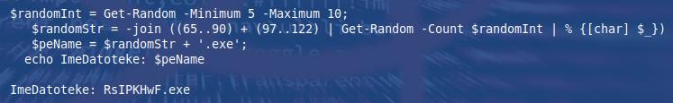 Primer generiranja naključnega imena izvršljive datoteke