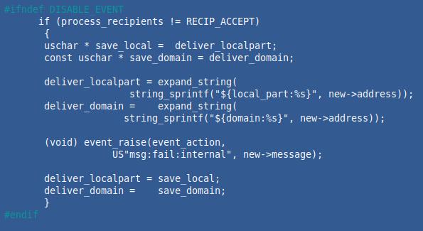 Posnetek kode, ki prikazuje, da se ranljivost nahaja v funkciji funkciji delivery_message ()