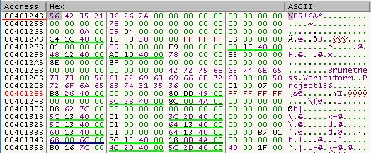 Začetek Visual Basic psevdokode, ki vsebuje podatke, potrebne za zagon programa