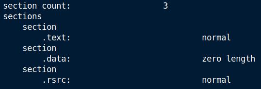 Datoteka je sestavljena iz treh sekcij