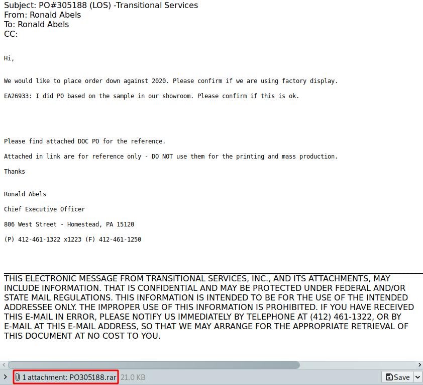 Primer elektronskega sporočila z arhivsko datoteko v priponki