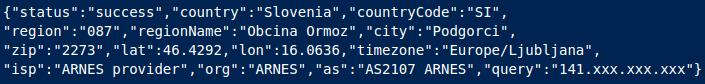 Podatki, ki jih prejme v odgovoru strežnika http://ip-api.Com/json/
