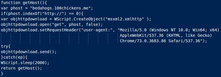 Spremenljivka host je določena v funkciji getHost()