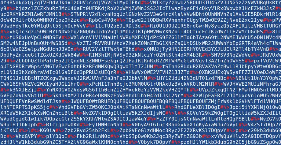 Daljši base64 niz, ki vsebuje kombinacijo ponavljajočih posebnih znakov #%>, ki ne sodijo v base64 obliko