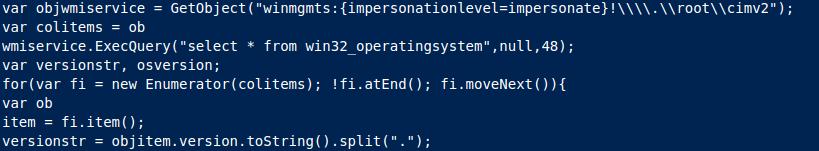 Primer izpisa pri preverbi verzije nameščenega Windows operacijskega sistema