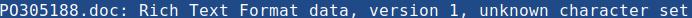 Uporaba ukaza file PO305188.doc za prikaz vrste datoteke