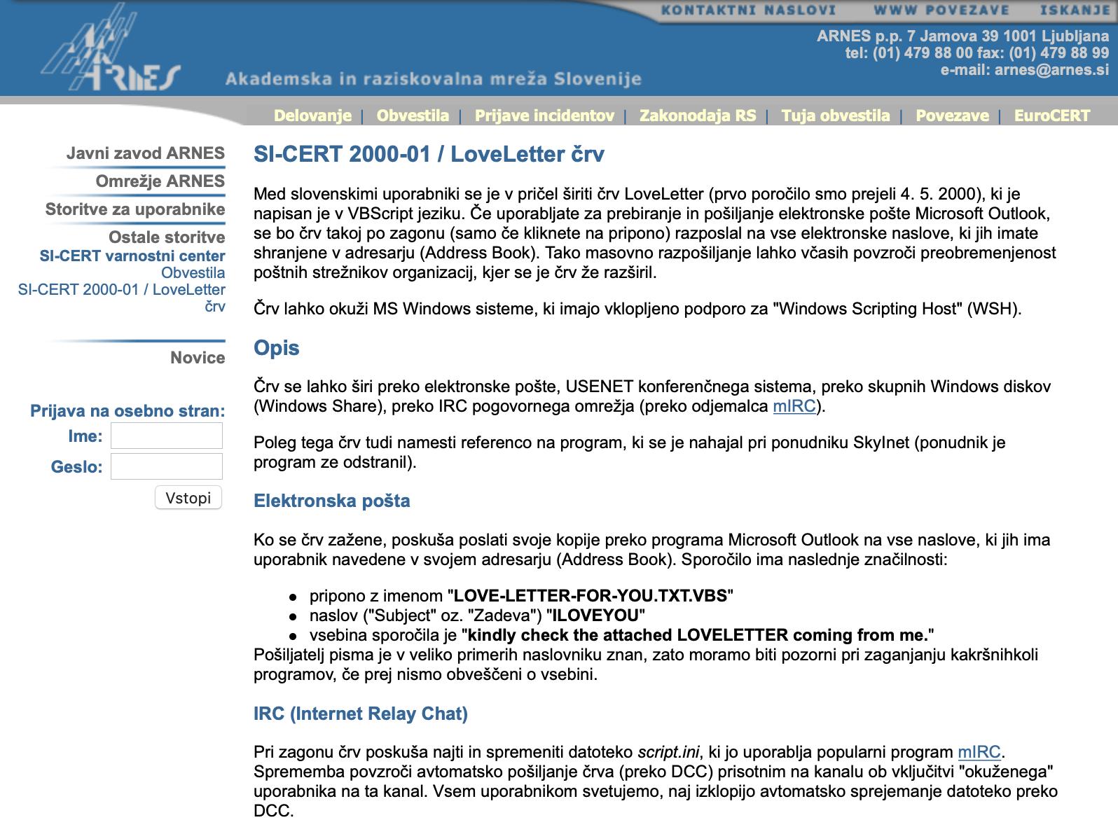 Originalno obvestilo SI-CERT o LoveLetter črvu iz leta 2000