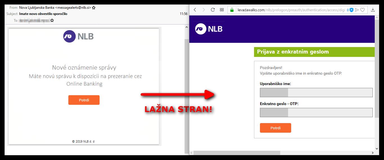 Lažna spletna stran, na katero vodi povezava