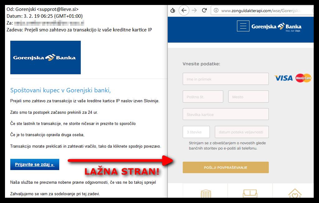 Lažna spletna stran Gorenjske banke