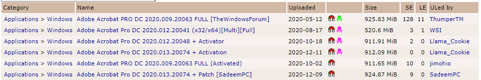 Rezultati iskanja Adobe Acrobat Pro v bittorent sledilniku thepiratebay