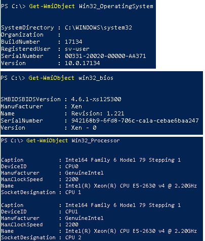 Izpis ukazov GetWmiObject Win32_OpertingSystem GetWmiObject win32_bios GetWmiObject  Win32_Processor